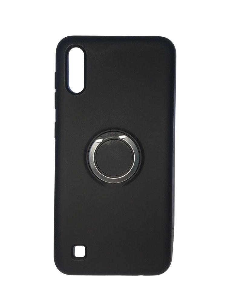 Чехол силиконовый с кольцом для Samsung Galaxy A10 черный