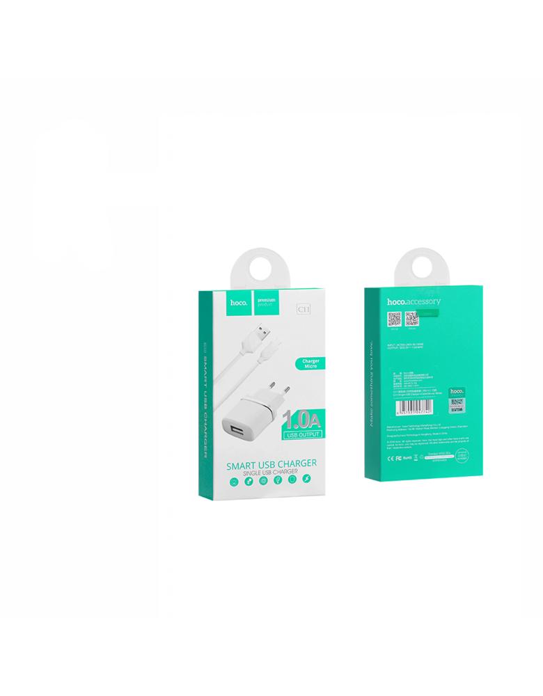 Зарядное устройство + кабель micro USB. HOCO (original) C11. 1xUSB 1.0A. Цвет: Белый