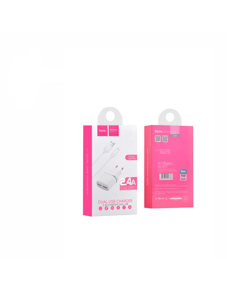 Зарядное устройство + кабель Micro USB. HOCO (original) C12. 2xUSB 2.4A. Цвет: Чёрный