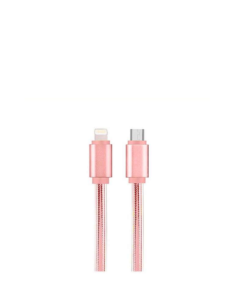 USB кабель HOCO (Original UPL12 2 в 1 Apple + Micro 1,2 м. Цвет: Розовый