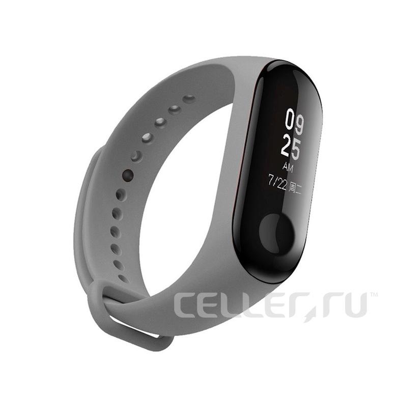 Ремешок для фитнес браслета Xiaomi Mi Band 3/4 (серый)