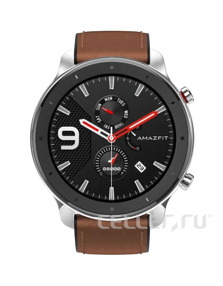 Часы Amazfit GTR 47mm stainless steel case, leather strap