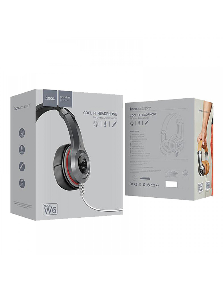Наушники с микрофоном HOCO(original) W6 Wired Heavy Bass Headphone. Цвет: Чёрный