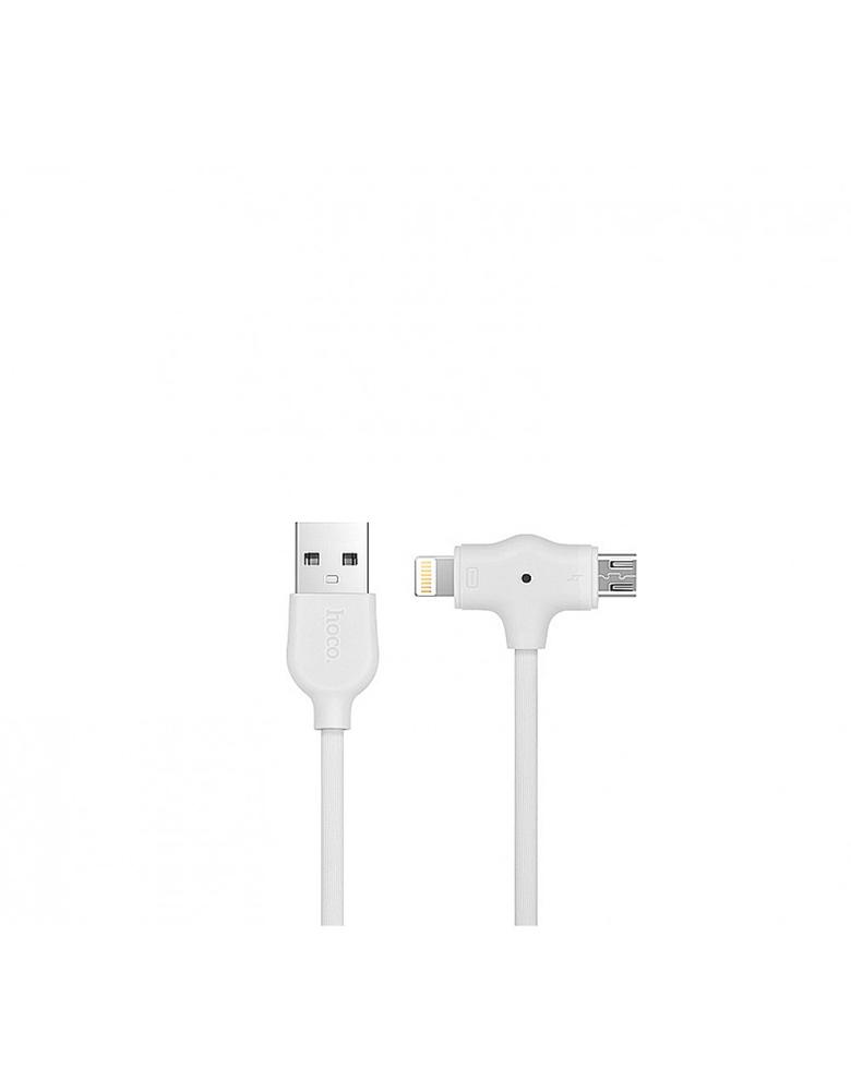 USB кабель HOCO (Original) X10 2 в 1 Apple + Micro 1M Цвет: Белый