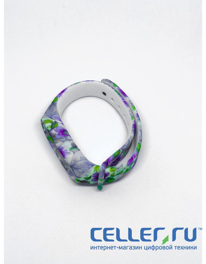 Браслет Mi band 2 Фиолетовые Цветы