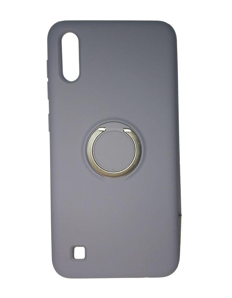 Чехол силиконовый с кольцом для Samsung Galaxy A10 серый