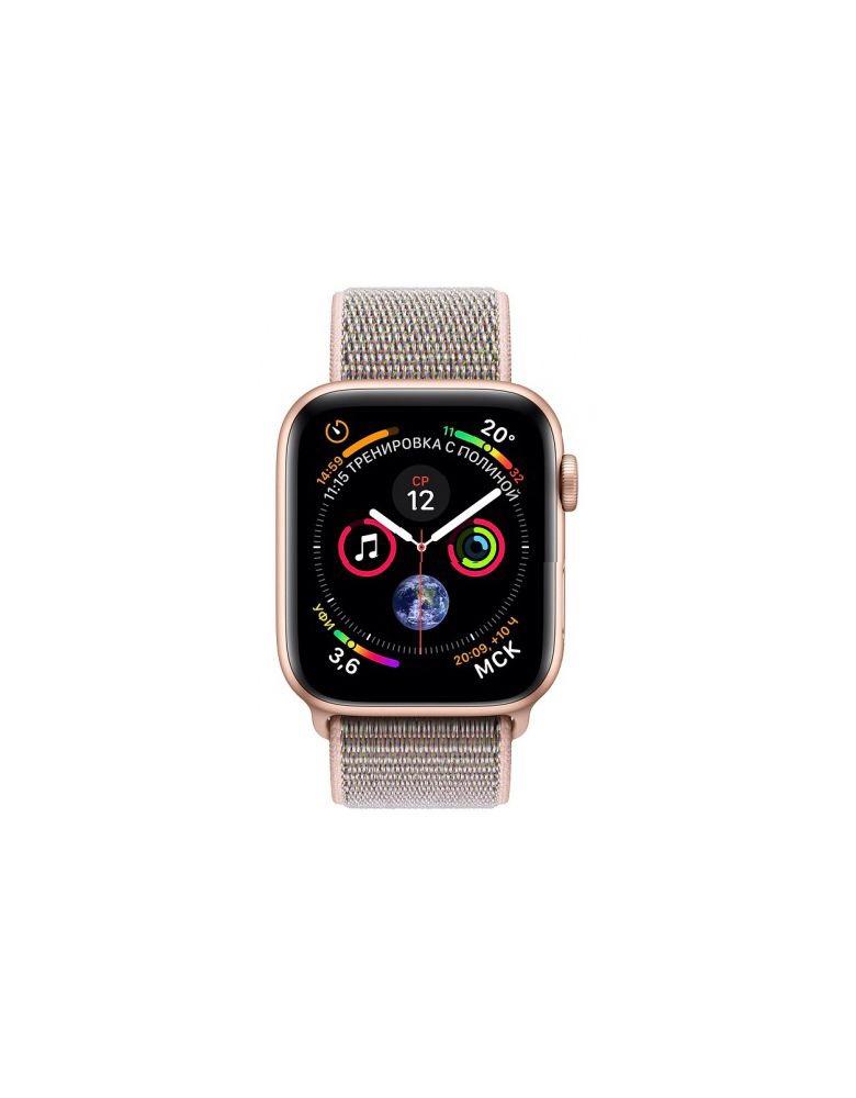 Apple Watch Series 4, 40 мм, корпус из золотистого алюминия, спортивный браслет цвета «розовый песок»