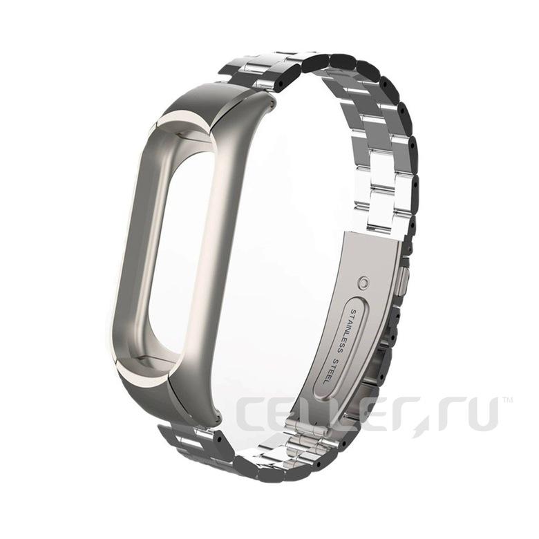 Стальной браслет для Xiaomi Mi Band 3 (серебряный)