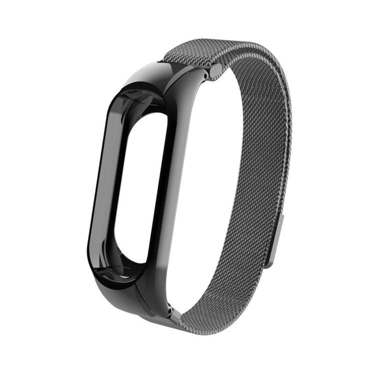 Сетчатый браслет для Xiaomi Mi Band 3 (черный)