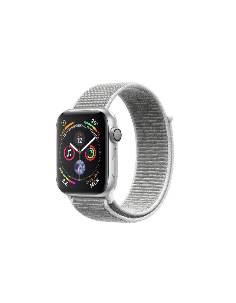 Apple Watch Series 4, 44 мм, корпус из серебристого алюминия, спортивный браслет цвета «белая ракушка» (серебристый)