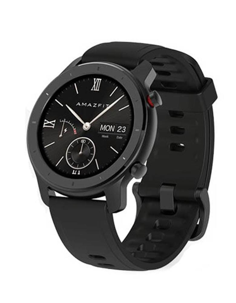 Часы Amazfit GTR 42mm aluminium case, silicone strap Черные