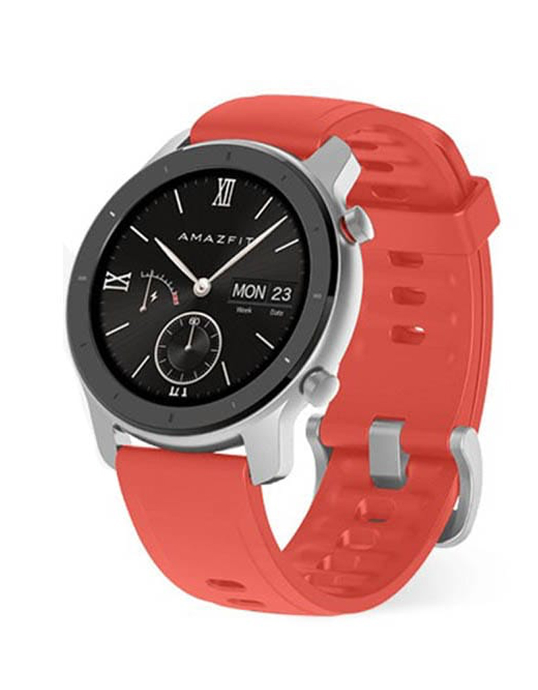 Часы Amazfit GTR 42mm aluminium case, silicone strap Красные