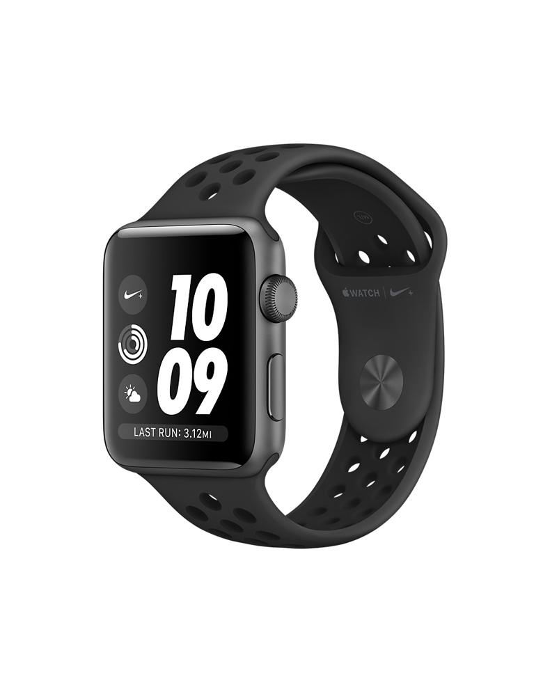 Часы Apple Watch Series 3 38mm Aluminum Case with Nike Sport Band, корпус из алюминия цвета «серый космос», спортивный ремешок Nike цвета антрацитовый/черный