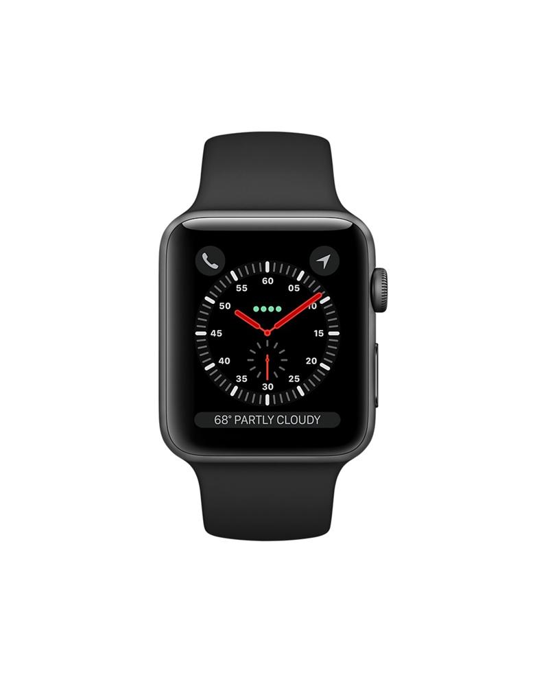 """Apple Watch Series 3 42 мм """"Серый космос"""", Спортивный браслет Черный"""