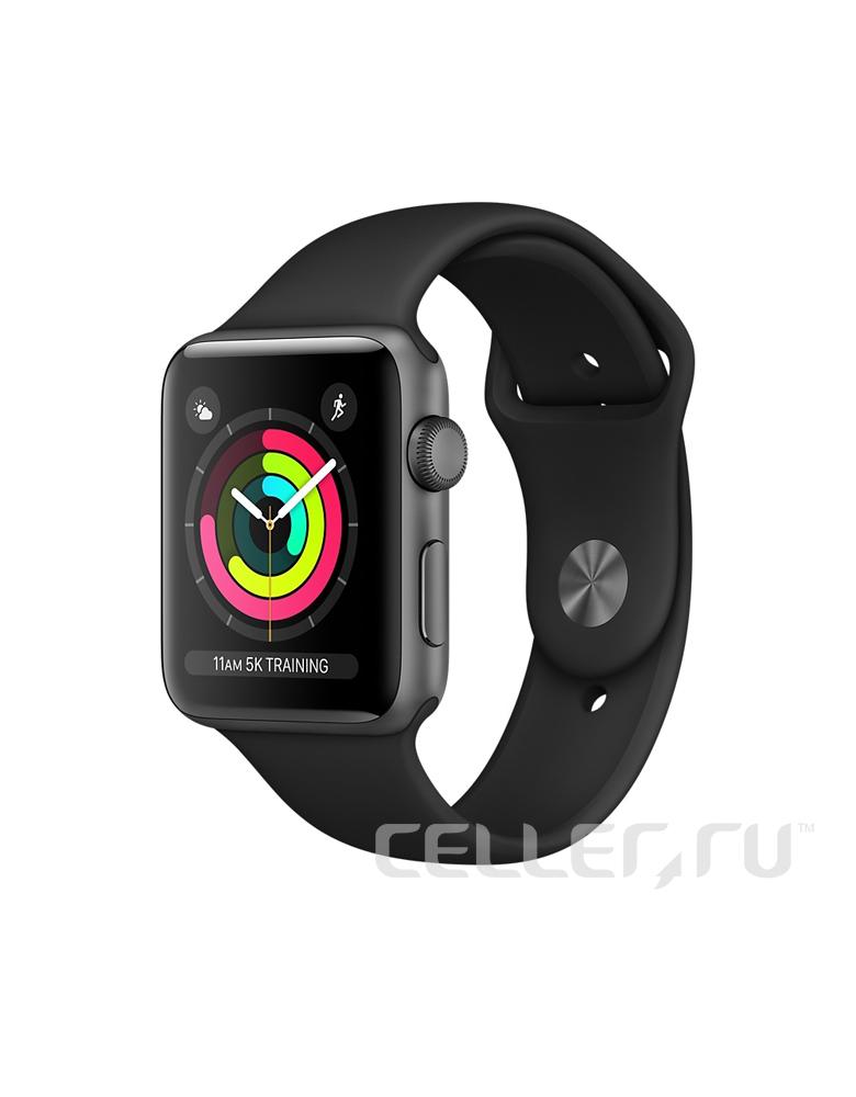 """Часы Apple Watch Series 3 38mm """"Серый космос"""", Спортивный браслет Черный"""