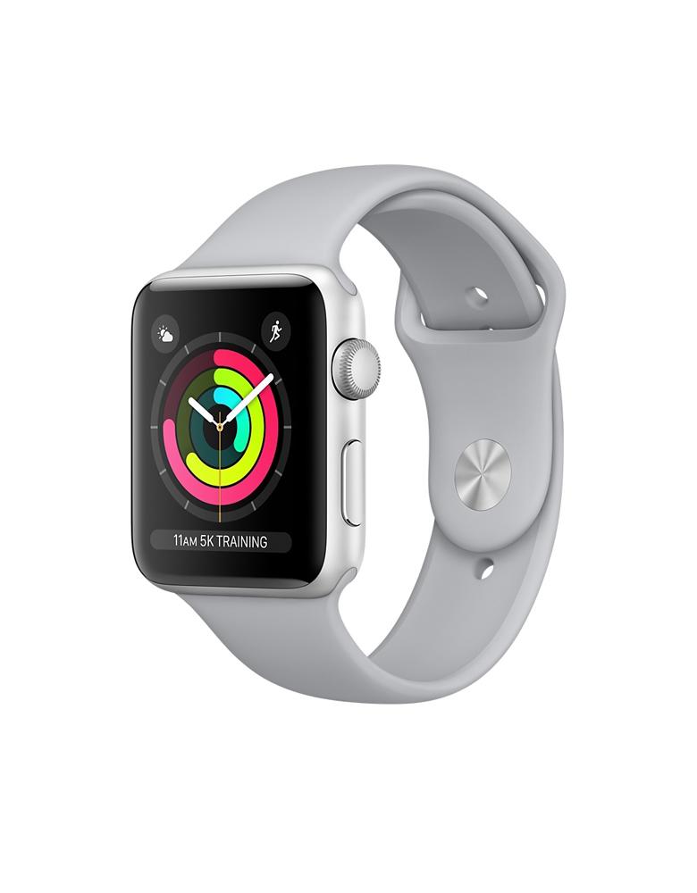 Часы Apple Watch Series 3 38mm Aluminum Case with Sport Band корпус из серебристого алюминия, спортивный ремешок белого цвета