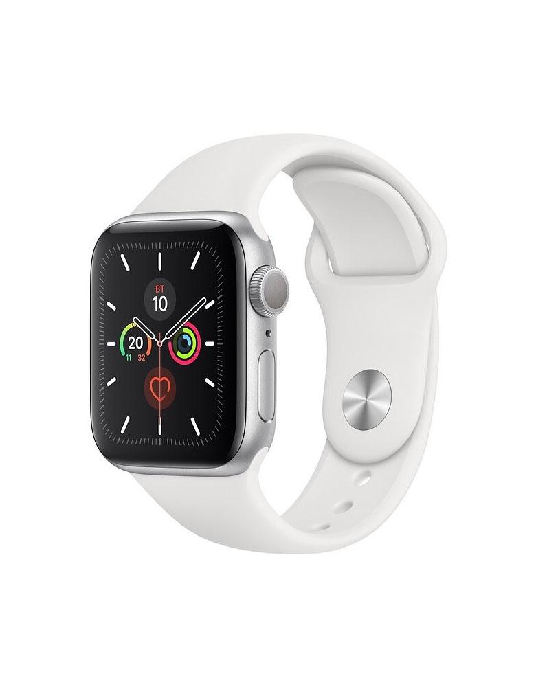 Часы Apple Watch Series 5 GPS 40mm Aluminum Case with Sport Band, корпус из алюминия серебристого цвета, спортивный ремешок белого цвета
