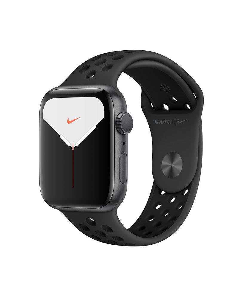 Apple Watch Series 5 Nike, 44 мм, корпус из алюминия цвета «серый космос», спортивный ремешок цвета Anthracite/Black